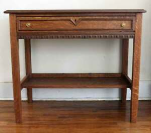 Antique Tiger Oak Ladies Writing Table Desk With Drawer Art Deco Local Pickup