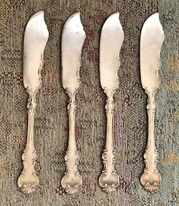 Rare Antique Wallace Troy Silverplate 4 Flat Butter Spreaders No Monogram