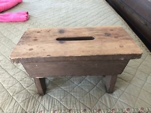 Vintage Country Rustic Farmhouse Bench Milking Stool Wooden Barn Cabin Primitive