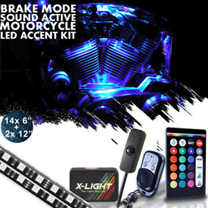 16pcs Motorcycle Led Lights Wireless Remote 18 Color Neon Glow Light Strips Kit