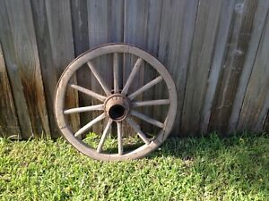 Primitive Antique Wooden Iron Wagon Wheel Cabin Farmhouse Ranch Kustom Farm