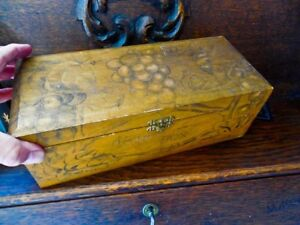 Antique Folk Art Poor Man S Wood Document Box Tramp Art Pictures On Outside Hand