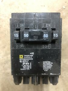 Set Of 4 Square D Homeline 2 15a 1 pole 1 50a 2 pole Quad Circuit Breaker