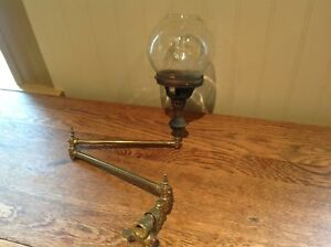2 Antique Wall Sconces Gasolier With Ball Shade Not Electrified