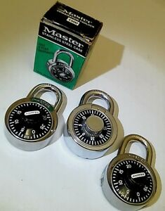 Lot 3 Vintage Combination Locks Master 1500 With Box