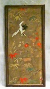 Antique 19c Japanese Large Silk Gold Threads With Crane Flowers Embroidery