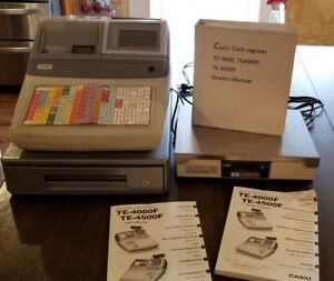 3 Sets Casio Te 4500f Cash Register with Cash Drawer Scale Manuals Cables