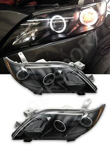 Set Of Pair Black Led Halo Headlights For 2007 2009 Toyota Camry Ce Le Se Xle