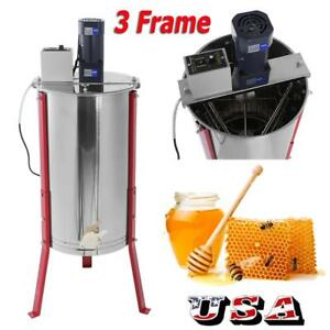 Us 3 Frame Stainless Steel Electric Honey Extractor Beekeeping Beehive Equipment