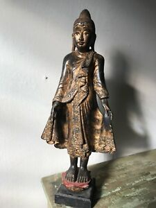 Antique Thai Wooden Buddha Statue Large Wood Carved Buddha Gilded Glass Mosaics