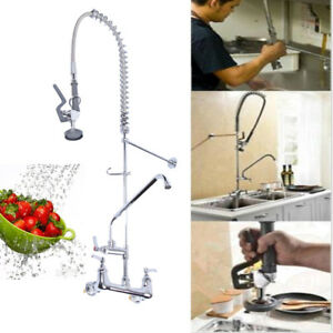 46 85 Upgraded Commercial Pre rinse Faucet Swivel W add on Faucet Kitchen Hotel