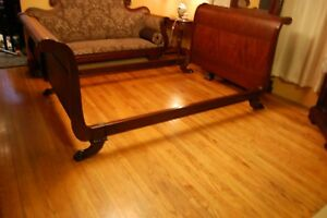 Antiqe Empire Claw Foot Mahogany Sleigh Bed 1930s