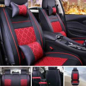 Universal Car Seat Covers Pu Leather Comfort Mesh Cushion Front Rear For 5 Seats