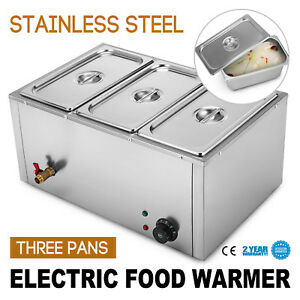 3 pan Food Warmer Steam Table Steamer Stainless Steel Hot Well Durable 1700w