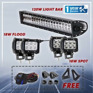 2 Row Cree Led Light Bar Spot Flood Combo Driving Light 20inch 4 4 Pods Lights