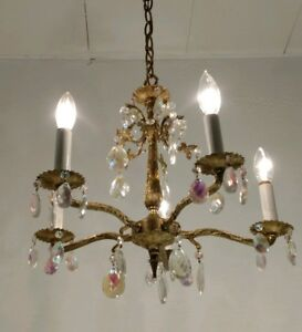Vintage Spanish Ornate 5 Arm Brass Chandelier Lots Of Rainbow Crystals