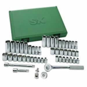 S K 49 Pc 3 8 Drive 6 Pt Fractional metric Socket Set With Universal Jt Skt94549
