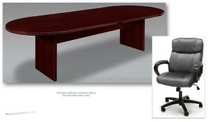 10 Foot Mahogany Conference Table With 8 Gray Microfiber Chairs Set Quality