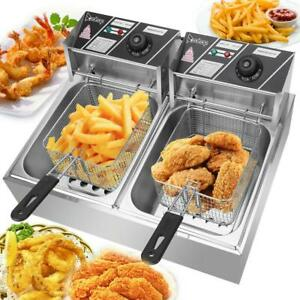 5000w 12 L Electric Deep Fryer Portable Dual Tank Basket Commercial Restaurant