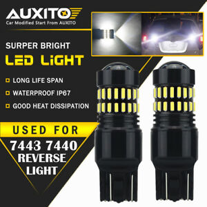Auxito 7443 7440 Tail Brake Stop Reverse Light Bulbs Led White Extreme Bright Ea