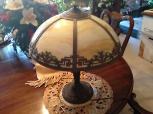 Antique Arts And Crafts Yellow Daisies A R Raunaud Slag Glass Lamp Art Nouveau