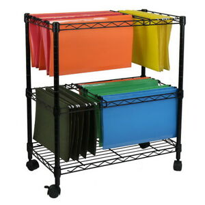 Portable Black 2tier Metal Rolling File Cart Hanging Dividers Included Us