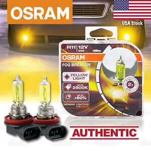 2x H11 711 Osram Fog Breaker Duobox Yellow Spot Bulbs 2600k Lamps 64211fbr Hcb