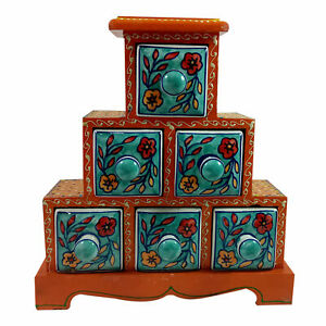 Jewelery Box Gift Handmade Wooden Ceramic Small Chest Of 6 Decorated Drawers