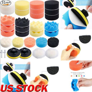 31pcs Sponge Polishing Waxing Buffing Pads Kit Compound Auto Car Drill Adapter