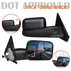 For Dodge Ram 1500 03 09 2500 3500 02 08 Tow Extend Right left Manual Mirrors