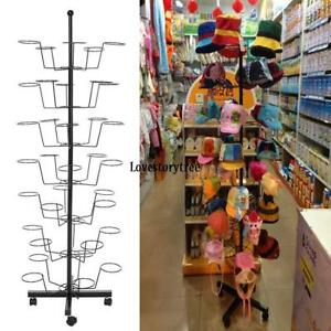 Hat Cap Display Retail Rotating Adjustable Metal Stand Hanging Hats Spinners