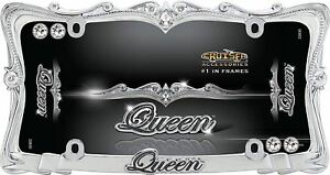 Queen License Plate Frame Chrome With Clear Bling Crystals Wi Diamond Caps