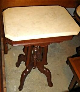 Antique Walnut Eastlake Marble Top Table Rectangular 8263