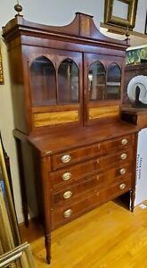 Antique 1815 New England Federal Mahogany And Inlaid Secretary Bookcase