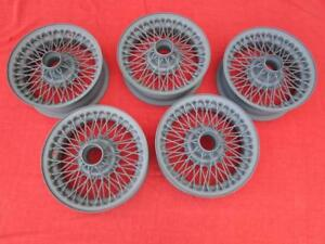 Complete Set Of Five 5 Stock Oem 60 Spoke 14 Wire Wheels For Mgb And Mgb Gt
