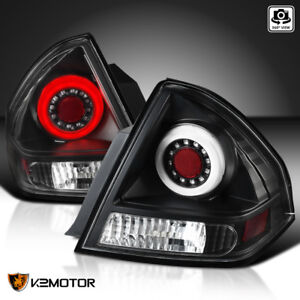 For Black 2006 2013 Chevy Impala Rear Halo Led Tail Lights Left Right