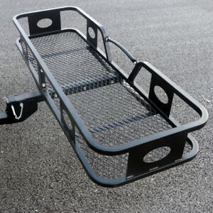 500lbs Capacity Black 60 Folding Cargo Carrier 2 Hitch Mount Luggage Basket