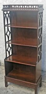 Antique Vintage Chinese Chippendale Tall Narrow Shelf Display Bookcase La Area