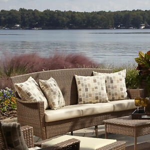 Panama Jack Outdoor Key Biscayne Patio Sofa With Cushions Canvas Vellum