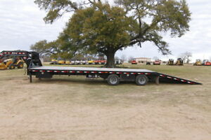 Pj Trailer Hd 37ft Flatdeck With Hydraulic Dove Tail 12 000 Hyd disk Loaded