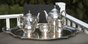 Sanborn Mexico 5 Pc Sterling Coffee Tea Service Peru Silver Tray 6800 Grams