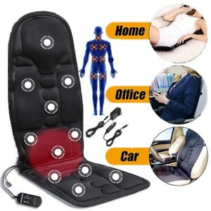 Electric Heated Car Seat Chair Back Lumbar Massager Cover Pad Leather Cushion