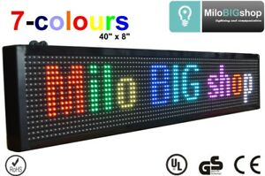 Led Scrolling Sign Rgb 7 Color Programmable Message Display 40 X 8