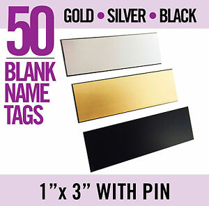 50 Lot Gold Or Silver Or Black Blank 1x3 Name Badges Tags With Pin New Mix