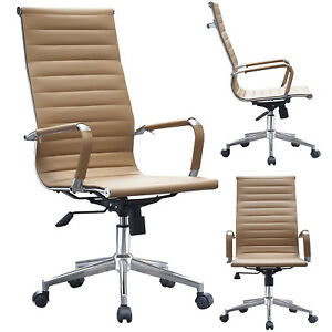 High Back Ribbed Leather Adjustable Office Chair Computer Desk Seat