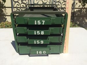 Vintage Metal Cabinet Organizer 4 Drawer Parts Bin Industrial Storage Box