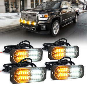4pc White Amber Emergency Security Truck 4w Flush Mount Side Marker Strobe Light