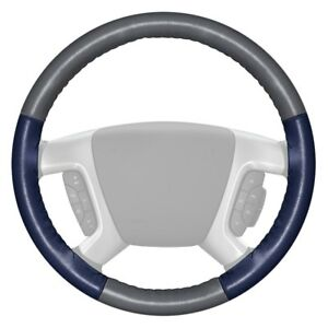 Wheelskins Eurotone Two color Gray Steering Wheel Cover W Blue Sides Color