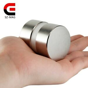 2pcs Super Powerful Dia 40mm X 20mm Neodymium Magnet 40x20 Disc Magnet Rare