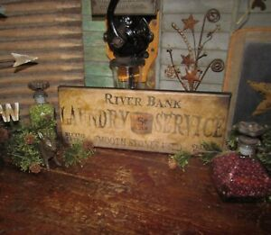 Primitive Antique Vtg Style General Store 5 Cent Laundry Service Canvas Sign